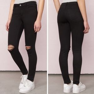 High Waist Black Ripped Knee Skinny Jeans Garage
